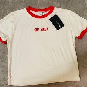 """red & white """"cry baby"""" top"""